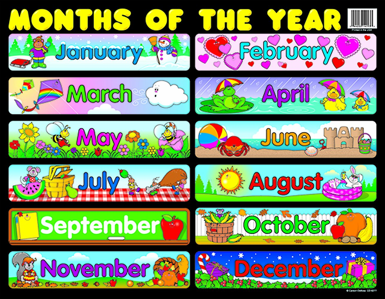 Amazoncom Carson Dellosa Months Of The Year Chart 6277 Early