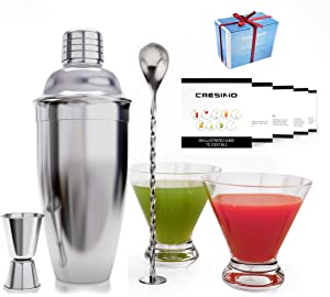 24 Ounce Cocktail Shaker Set with a Set of 2 Stemless Martini Glasses and Cocktail Recipe Guide - The Perfect Christmas Gift - Martini Glasses, Cocktail Mixer, Measuring Jigger and Bar Spoon