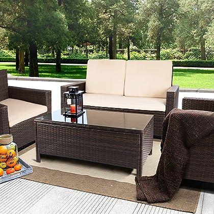 2322e355ef2 ... Devoko Porch Patio Furniture Set Clearance 4 Piece PE Rattan Wicker  Garden Sofa Beige Cushion Chairs ...