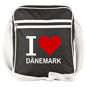 Schultertasche Classic I Love Danemark Schwarz Lustig Witzig