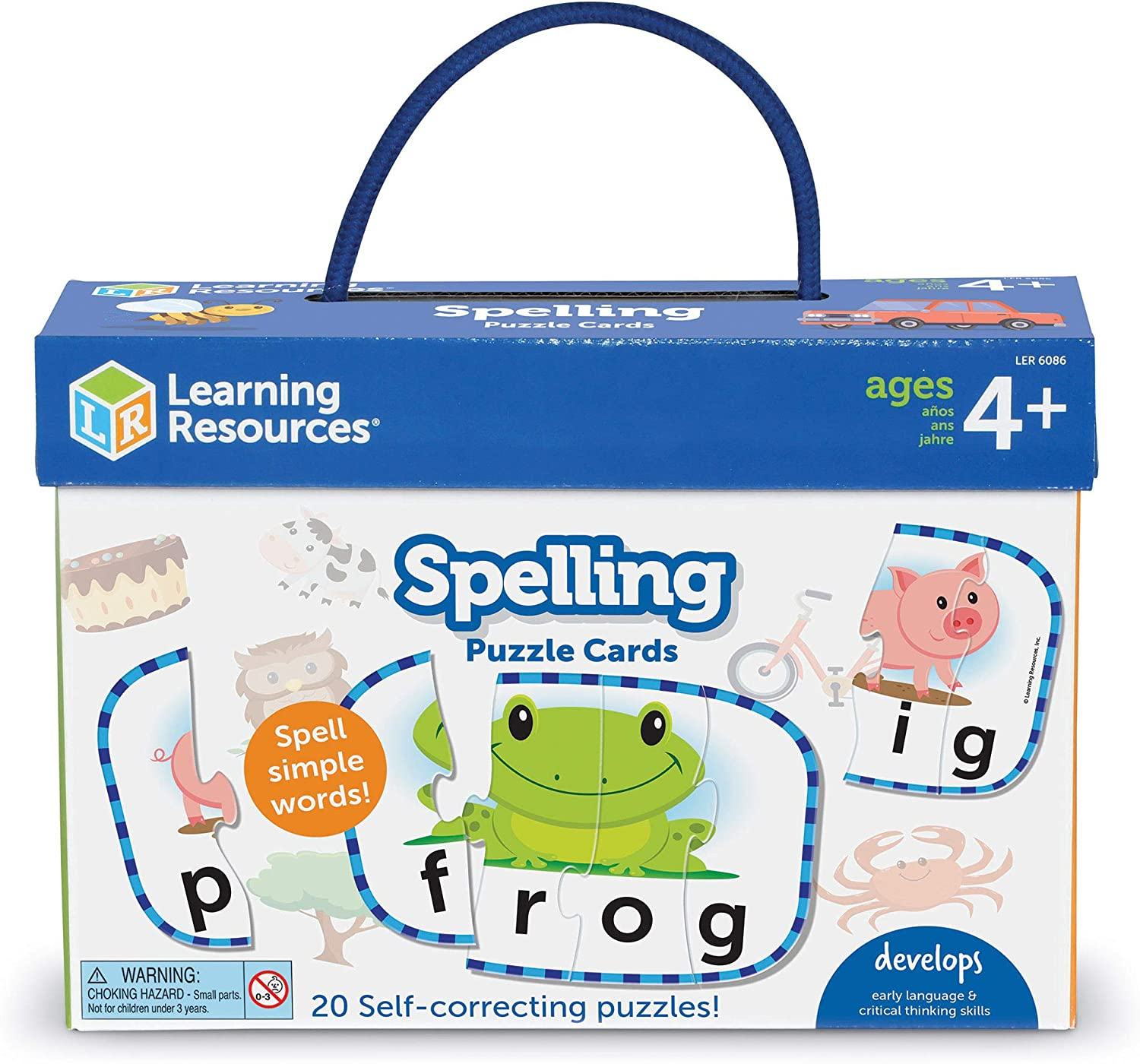 Learning Resources Spelling Puzzle Cards, Kindergarten Readniness, Self Correcting Puzzles, Ages 4+ (Multi)