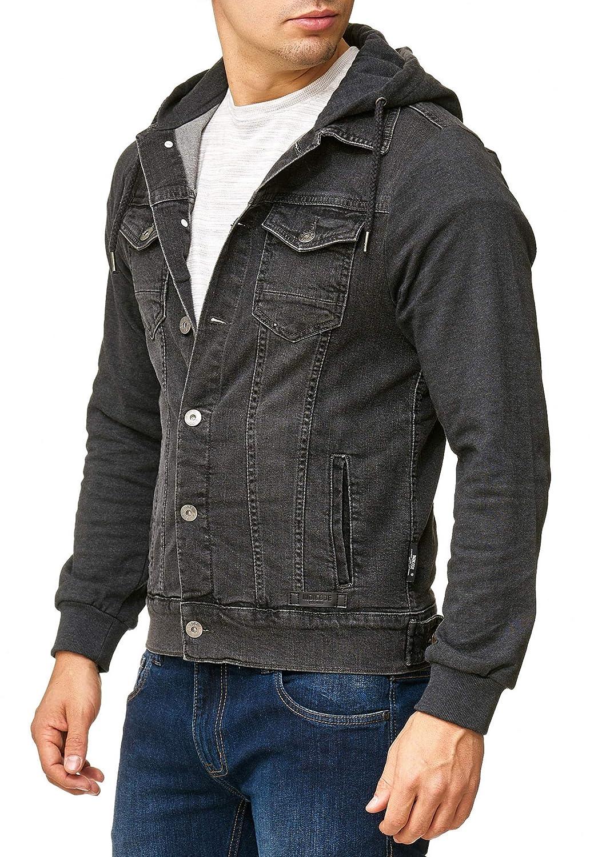 Gilet Indicode Uomo Boscobel Giacca in Jeans con Maniche Felpa E Cappuccio Look Moderna di Mezza Stagione Comoda Denim Hoodie Jacket per Uomo