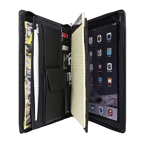 Genuine Leather Padfolio Organizador Litchi Cartera Profesional de Cartera Completa para iPad Pro 12.9