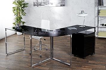 Bureau d angle atlanta verre noir chromé cm bureau de