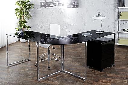 Mesa de escritorio en esquina Atlanta 180 x 160 cm cristal negro ...