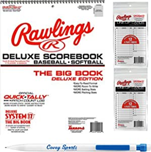 Rawlings Baseball Softball Scorekeeper Scorebook - (Large Print Format) - Bundled with 24 Lineup Cards and Covey Sports Pencil