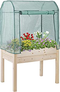 lafuria Raised Garden Bed Outdoor Wooden Planter Box with Greenhouse Cover for Vegetables Flowers Fruits Herbs 35.8