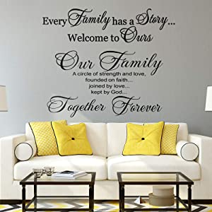 2 Pieces Vinyl Wall Quotes Stickers Family Lettering Wall Decals Scripture Wall Decal Bible Verse Vinyl Stickers Our Family is a Circle Inspirational Stickers for Living Bedroom Home Decorations