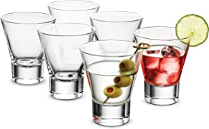 Bormioli Rocco YPSILON Cocktail Glasses set - 8.5 Oz - Bar Glass, (6 Pack) Stemless Martini Glasses for All Alcoholic Beverages like Margarita, Manhattans, Bourbon, Vodka, Lead-Free Whiskey Glass