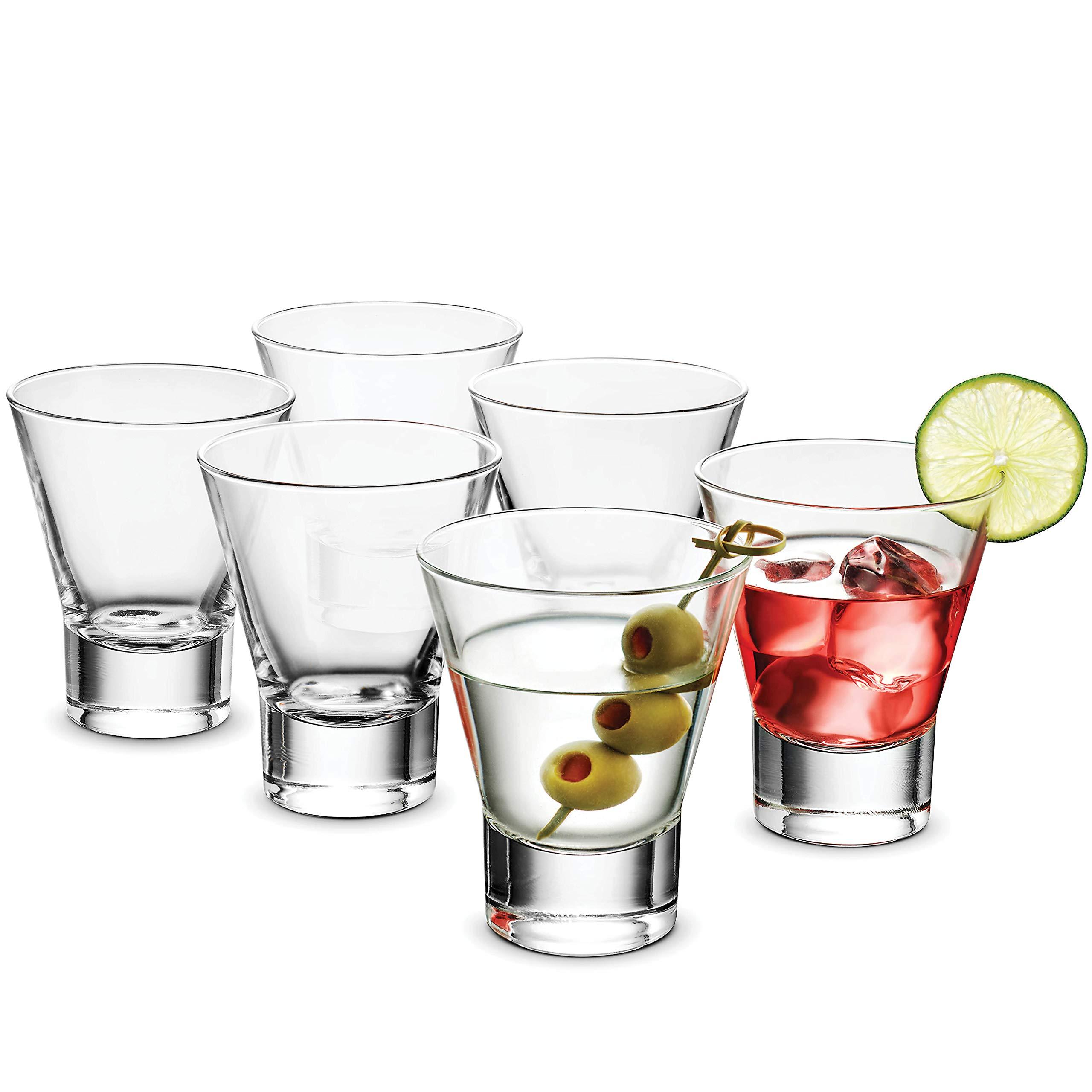 Bormioli Rocco YPSILON Cocktail Glasses set - 8.5 Oz - Bar Glass, (6 Pack) Stemless Martini Glasses for All Alcoholic Beverages like Margarita, Manhattans, Bourbon, Vodka, Lead-Free Whiskey Glass