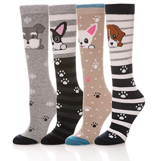 14d4e7ca04cb Amazon.com  LongGe 4 6 Pairs Girls Knee High Socks Winter Animal ...