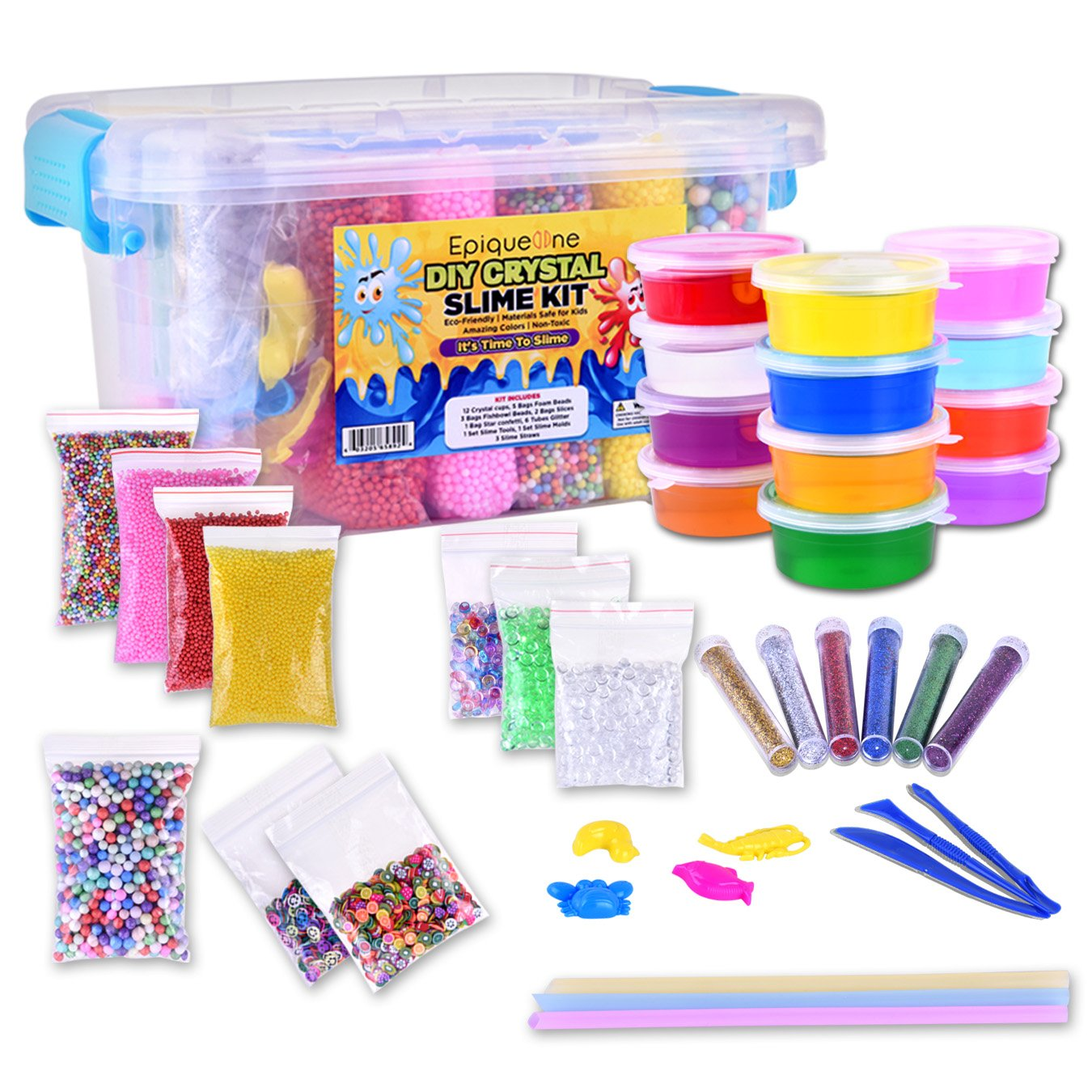 EpiqueOne DIY Slime Kit: 47-Piece Fluffy Slime Making Supplies| 12 Cups Crystal Slime Colorful Foam/Fishbowl Beads Glitter & Slime Tools in Slime Container|for Holidays Birthday