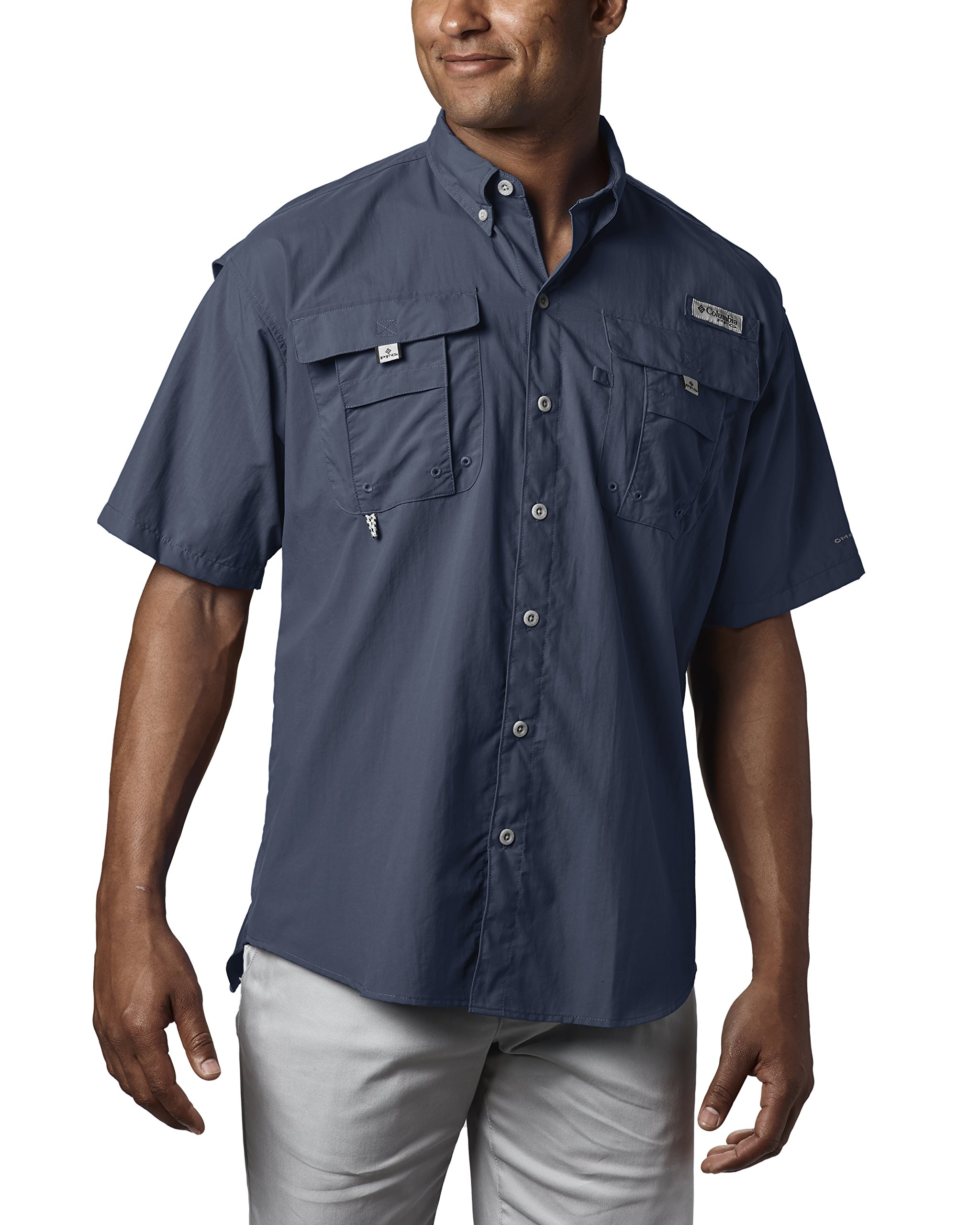 Columbia Men's PFG Bahama II Short Sleeve Shirt, Collegiate Navy, X-Small