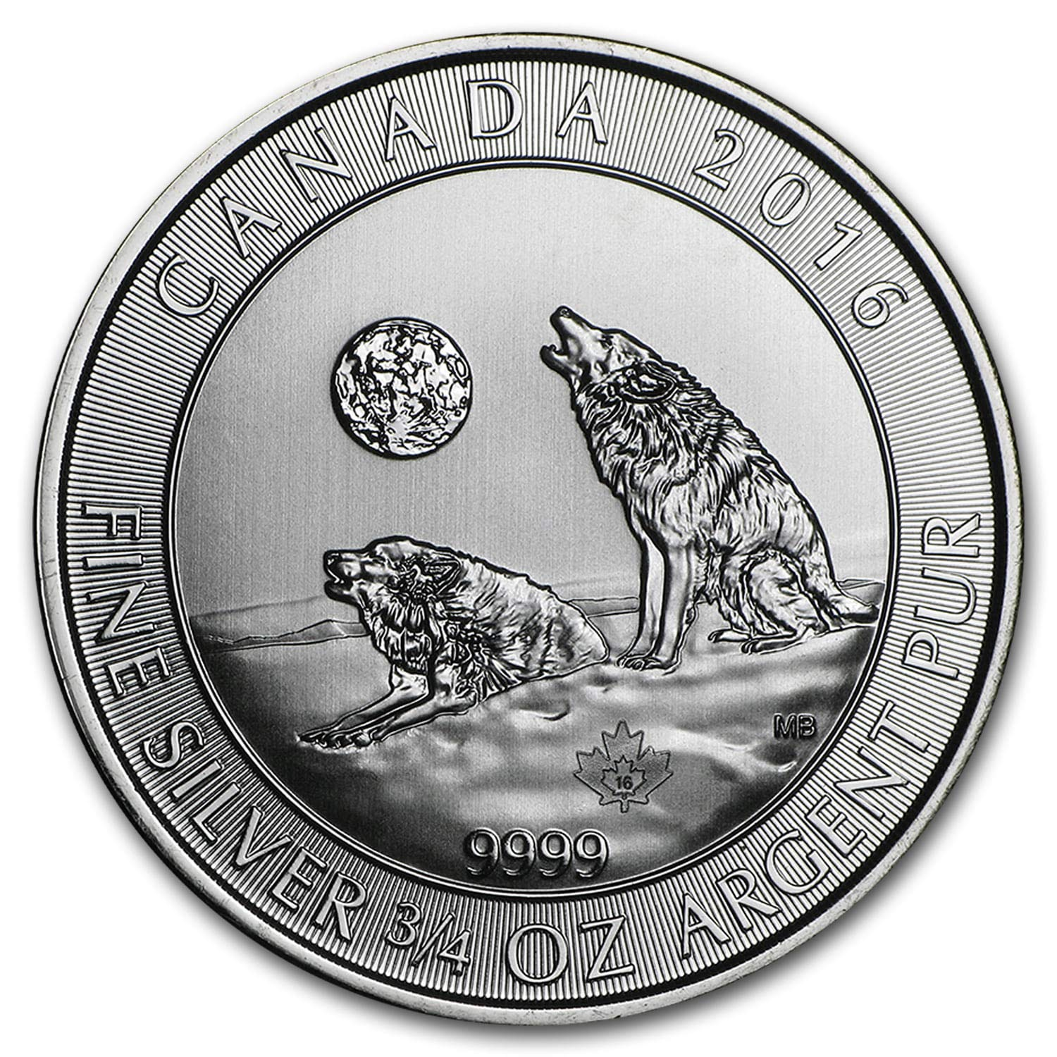 2016 Canadian Wolf Series Howling Wolves 3//4 oz .9999 Silver BU Bullion Coin