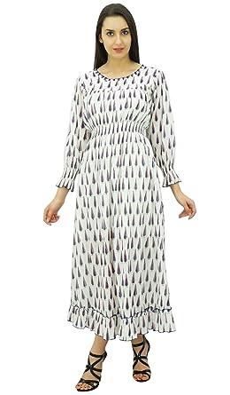 Bimba algodón batas cintura largo maxi elegante vestido boho impresas de las mujeres: Amazon.es: Ropa y accesorios
