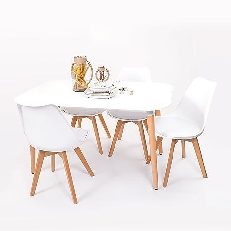Conjunto de Mesa de Cocina NORDIK 130x80 + 4 sillas Day de diseño nórdico-Scandi - (Blanco)