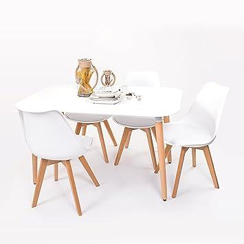 Conjunto de Mesa de Cocina NORDIK 130x80 + 4 sillas Day de diseño ...