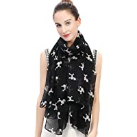 Lina & Lily Poodle Dog Print Women's Large Scarf Lightweight