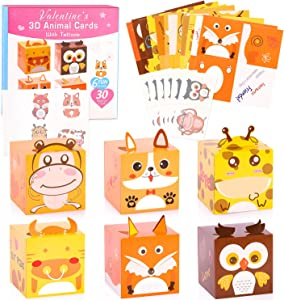 GLOCITI Valentines Day Cards for Kids 30 Pack DIY 3D Animal Box with Temporary Tattoos - Perfect DIY Valentines Cards for Classroom School Games & Valentine Party Favors
