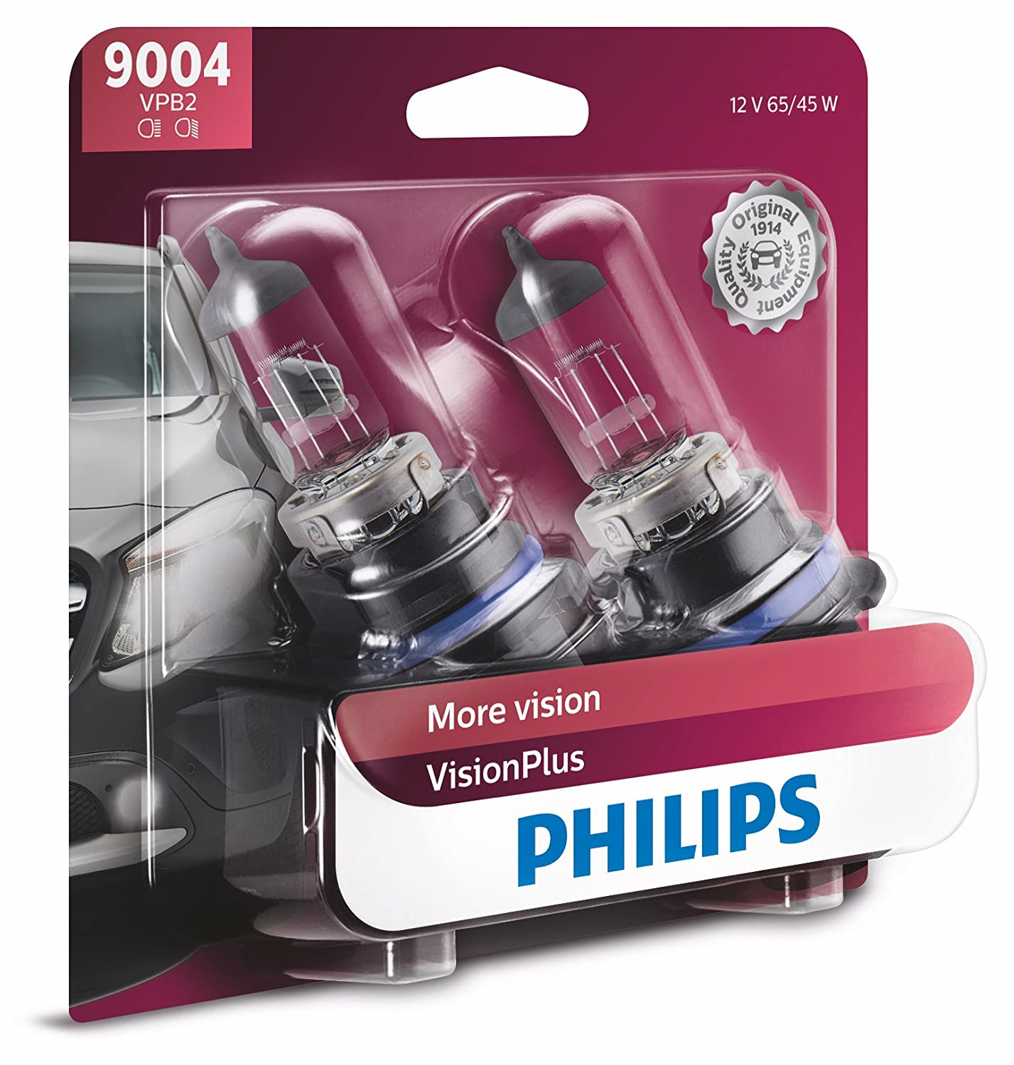 Philips 9004 VisionPlus Upgrade Headlight Bulb with up to 60% More Vision, 2 Pack