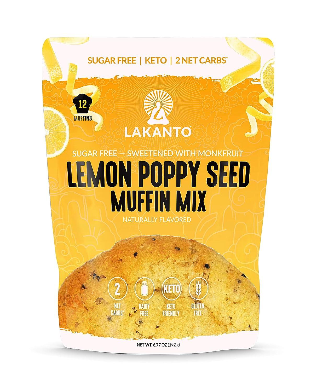 Lakanto Lemon Poppy Seed Muffin Mix - Sugar Free, Sweetened with Monkfruit Sweetener, 2g Net Carbs, Dairy Free, Keto Diet Friendlky, Gluten Free, Natural Flavors, Almond Flour, Sea Salt (12 Muffins)