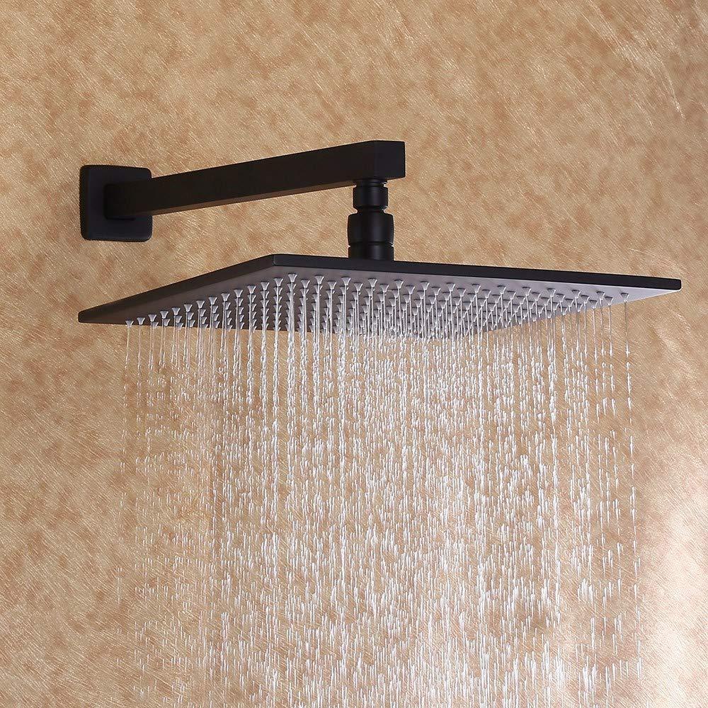 Juego de ducha y ducha de mano Jiuzhuo color negro mate lat/ón macizo lat/ón 8 inch shower head