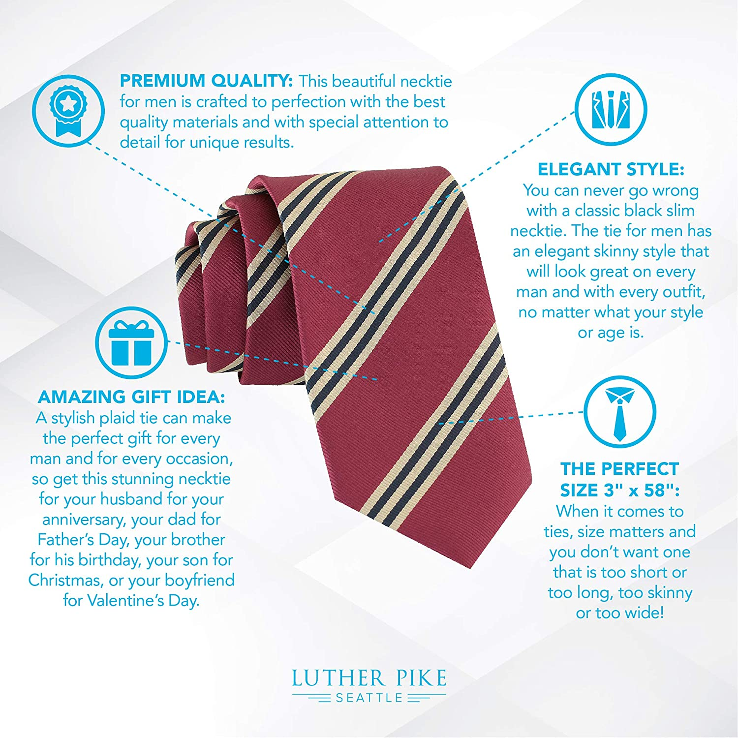 Handmade Skinny Woven Slim Mens Tie By Luther Pike Thin Burgundy Ties For Men