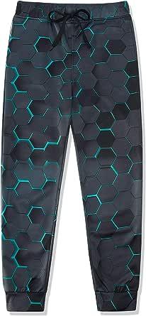 Lovekider Pantalones de chándal para niño con impresión 3D gráfica con cordón y bolsillos, de poliéster, transpirables, para el tiempo libre, de 6 a 13 años