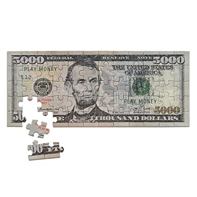 Mini Copy Play Money $5000 Dollar Bill Jigsaw Puzzle. Great Gift: Toys & Games