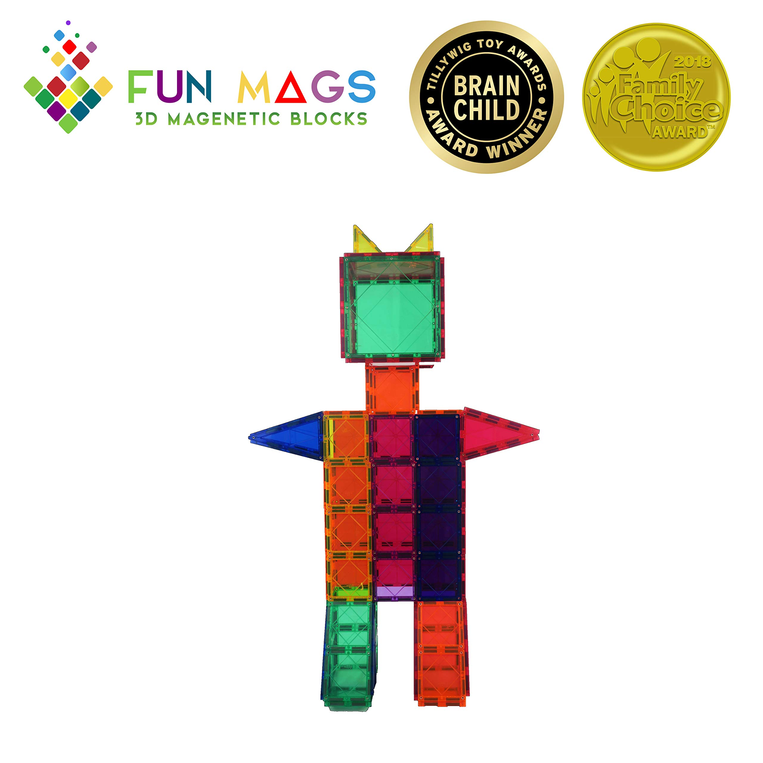 Fun Mags Magnetic Blocks 100-Piece Set 3D Magnetic Building Blocks, STEM Educational Magna Magnetic Tiles Magnet Toys for Kids, Toddlers by Lustien Toys (Image #5)