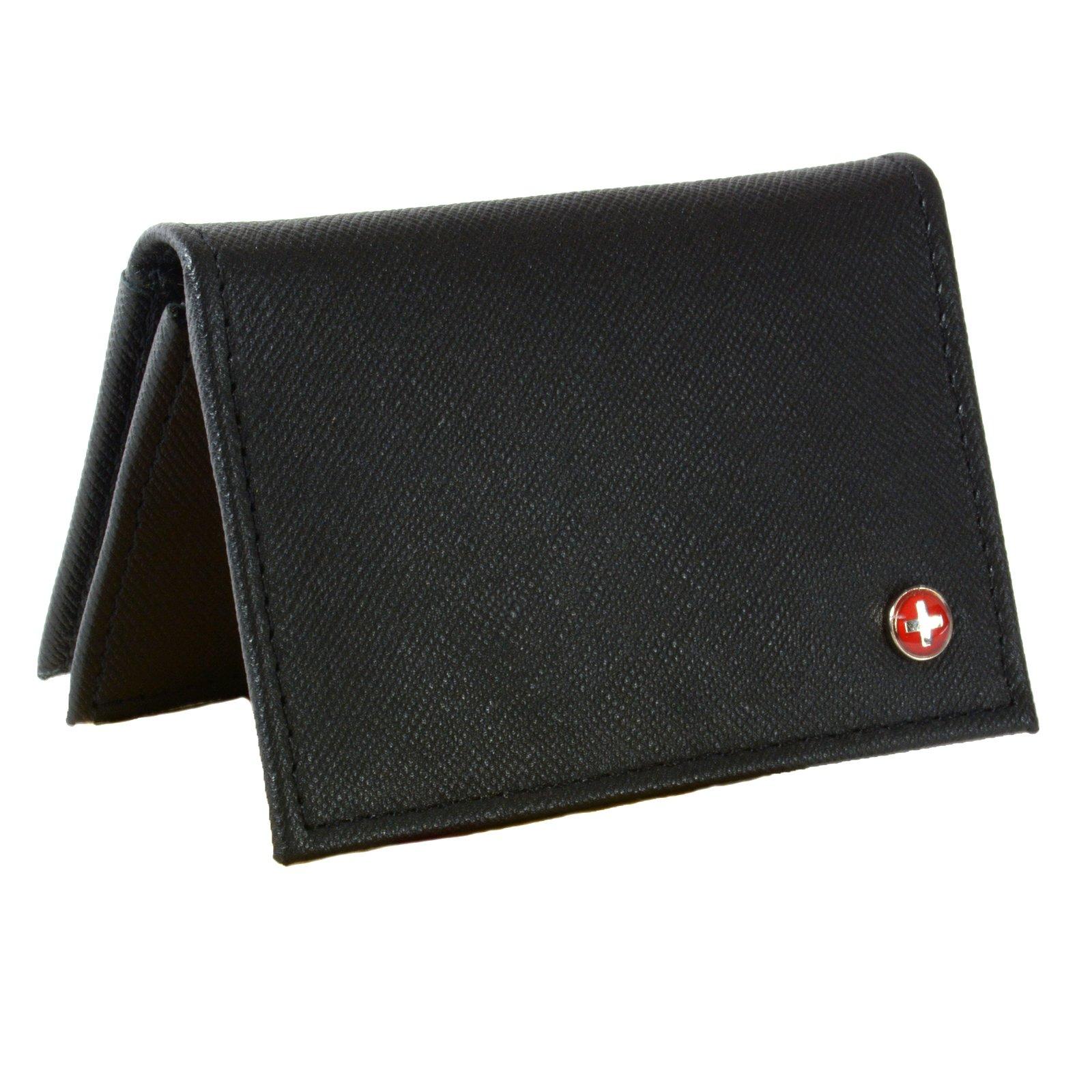 Alpine Swiss Genuine Leather Thin Business Card Case Minimalist Wallet Crosshatch Black