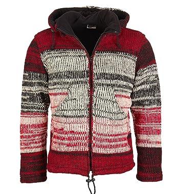 24cad213a805 Nepal Damen Strickjacke Goa Wolle Jacke mit Fleecefutter und Abnehmbarer  Zipfelkapuze, Size Größe