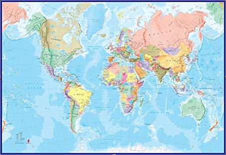 Mapamundi Mural Gigante - Azul oceánico: Amazon.es: Hogar