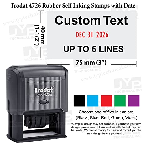 Trodat 4726 Self Inking Date Stamp With 5 Lines Customization Text Of 2 Color