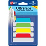 "Avery Margin Ultra Tabs, 2.5"" x 1"", 24 Repositionable Tabs, Two-Side Writable, Red/Yellow/Green (74768)"