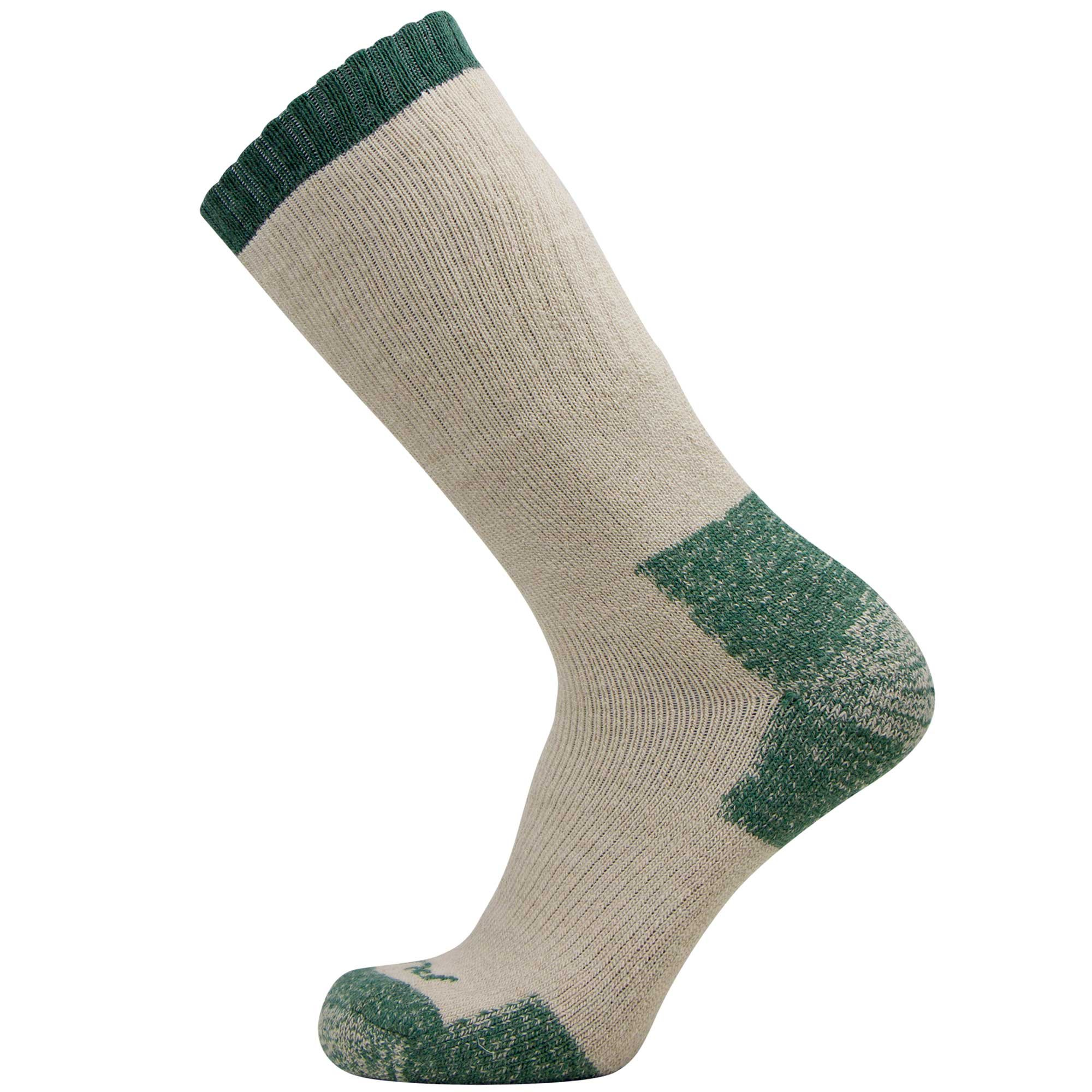 Wicked Warm Boot Socks – Premium Merino Wool Hiking Socks for Men and Women – Thick Heavy Cushioned Work Sock (L/XL, Tan/Green)