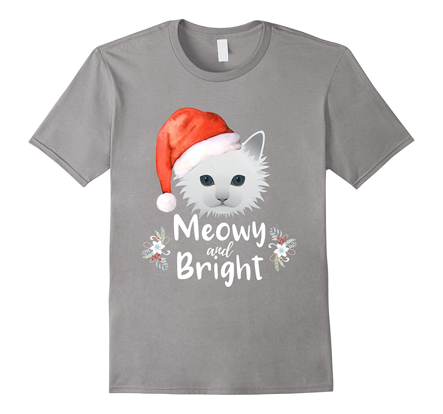 Meowy and Bright Merry Christmas Cat White Kitty T Shirt-ANZ