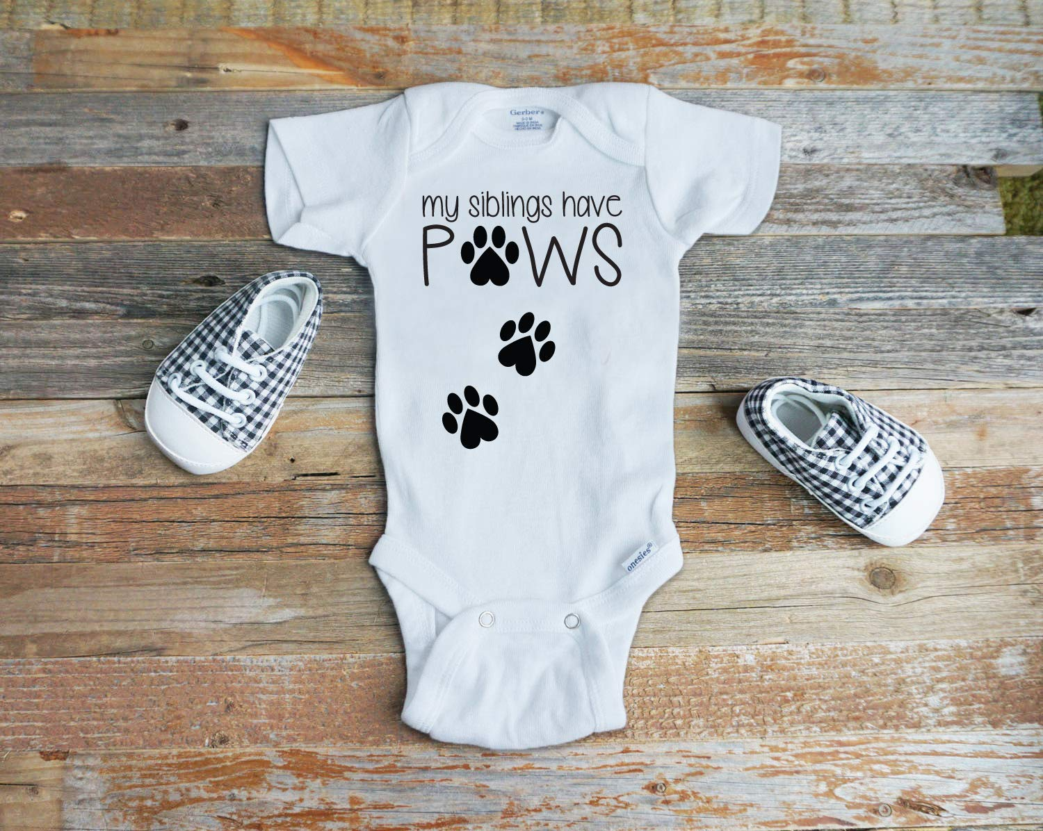 MY SIBLINGS HAVE PAWS Gerber Onesie Baby Shower Gift Pregnancy Announcement