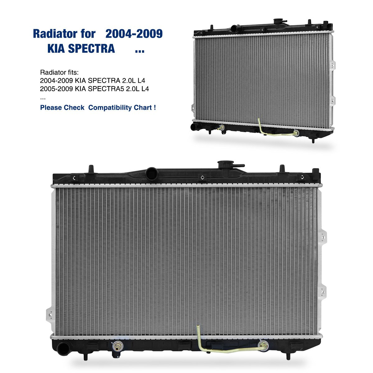 Amazon.com: Replacement Radiator for KIA 2005 2006 2007 2008 2009 SPECTRA  SPECTRA5 2.0L L4: Automotive