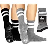 LA Active Grip Socks - Yoga Pilates Barre Ballet Non Slip Crew Hospital Socks