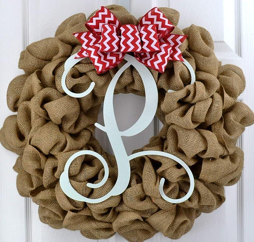 Everyday Cross Burlap Front Door Wreath Ivory Cornflower Blue Denim Mothers Day Present