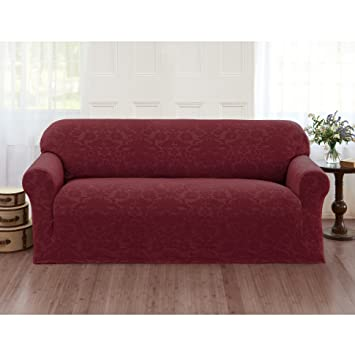 Amazon Sanctuary Velvet Damask Stretch Sofa Slipcover