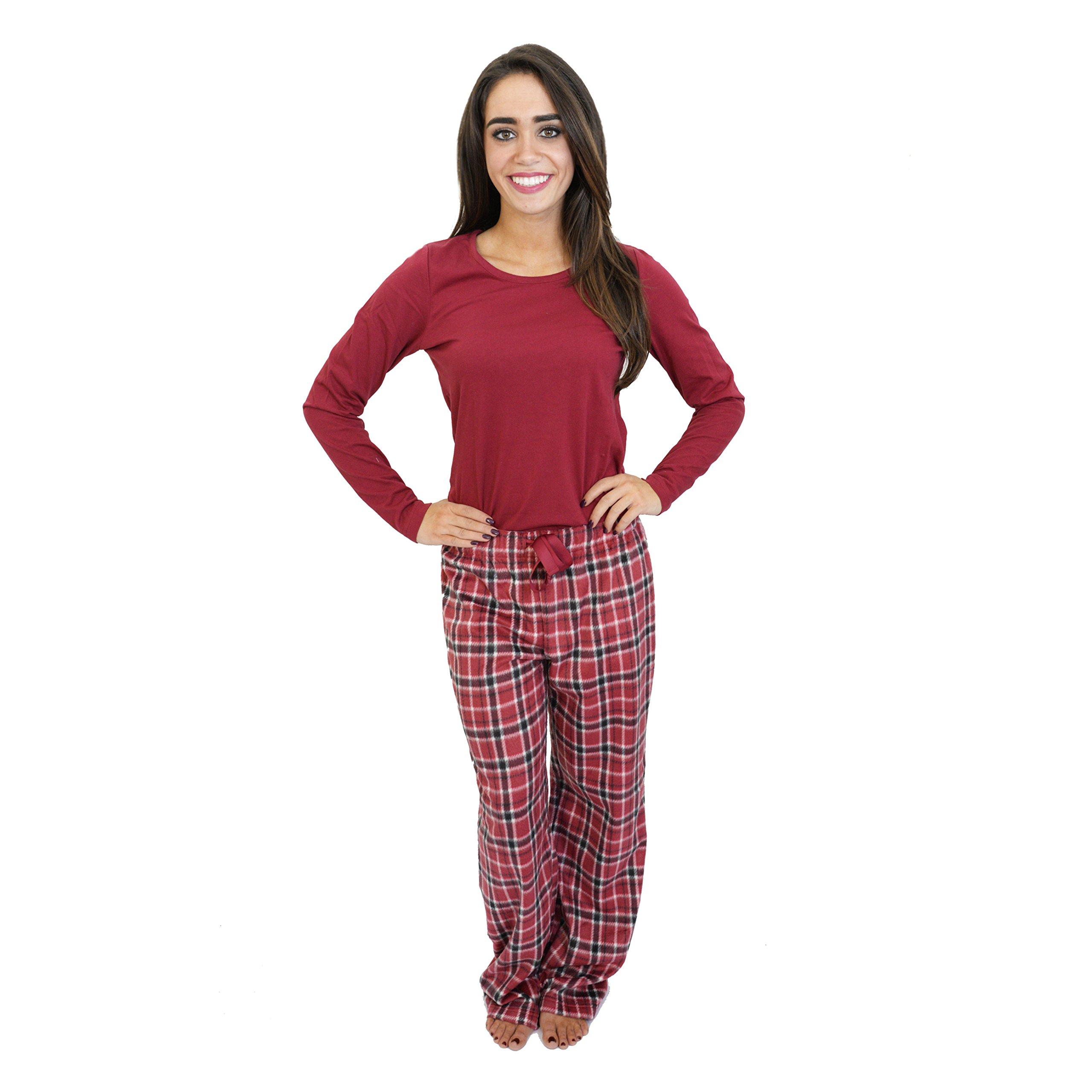 Cherokee Women's 2 Piece Pajama Set, Plaid Four, S