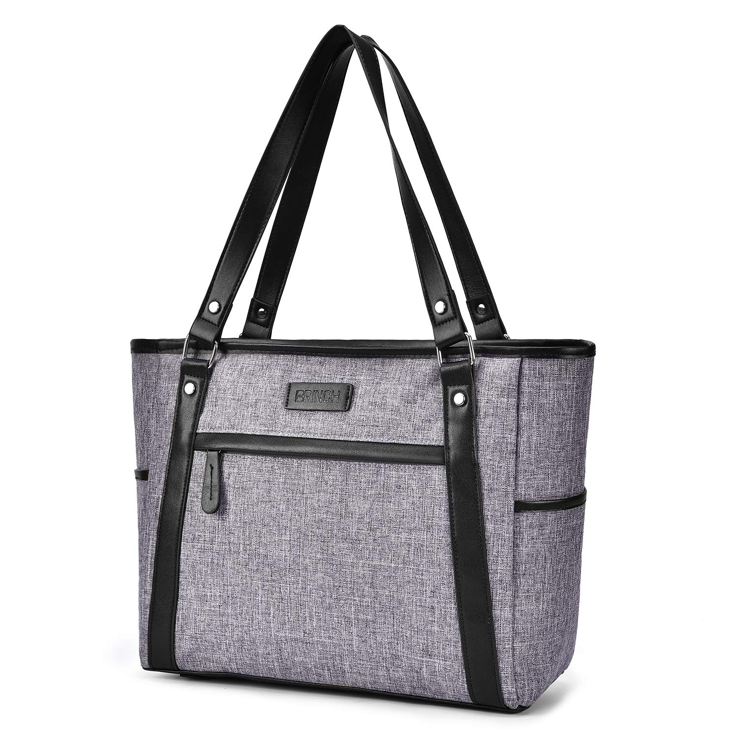 15.6 inch Laptop Tote Bag Lightweight Shoulder Bag for Women Large Capacity Business Briefcase Durable Nylon Travel Computer Tote Casual Shopping Handbag Multi-Function Zipper Work Satchel Bag,Gray Suppets