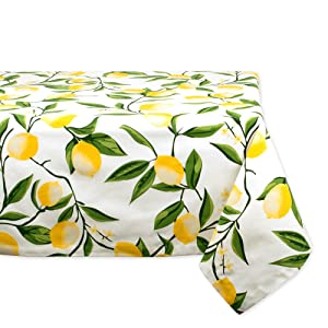 """DII Rectangular Cotton Tablecloth for Summer BBQ, Catering Events, Dinner Parties, Special Occasions or Everyday Use - 60x84"""", Lemon Bliss"""
