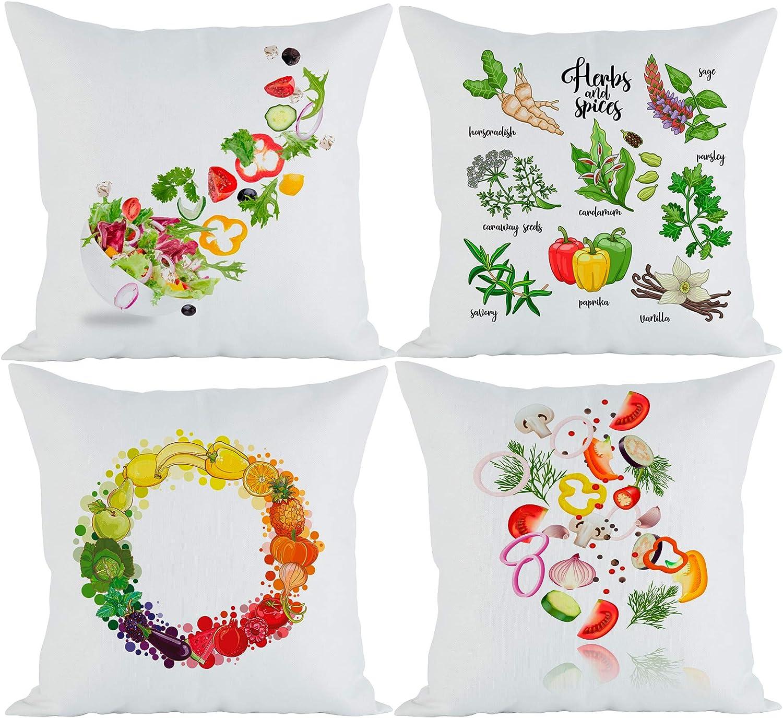 Aichoice Solid Color Cotton Decorative Throw Cushion Cover 18 X 18 45cm X 45cm Bündel 4er Set Buntes Essen B Amazon Co Uk Kitchen Home