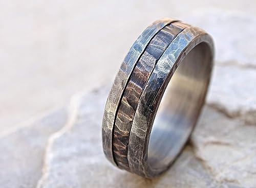Amazon Com Cool Mens Ring Mixed Metal Unique Wedding Band Bronze