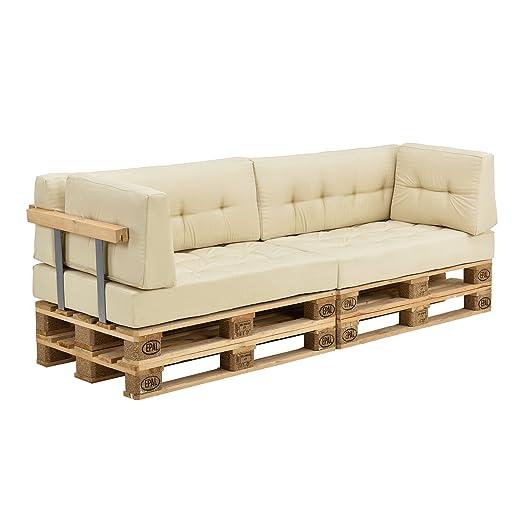 [en.casa]®] Set de Cojines para sofá de palés - 2 Cojines de Asiento + 2 Cojines de Respaldo + 2 Cojines de Esquina [Beige] para Interior/Exterior
