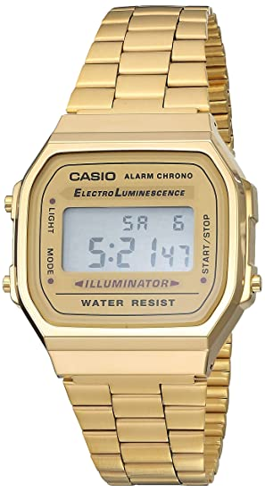 b0bef3d11227 Casio A168WG-9VT Reloj Digital Clásico Metal Retro Vintage  Amazon ...