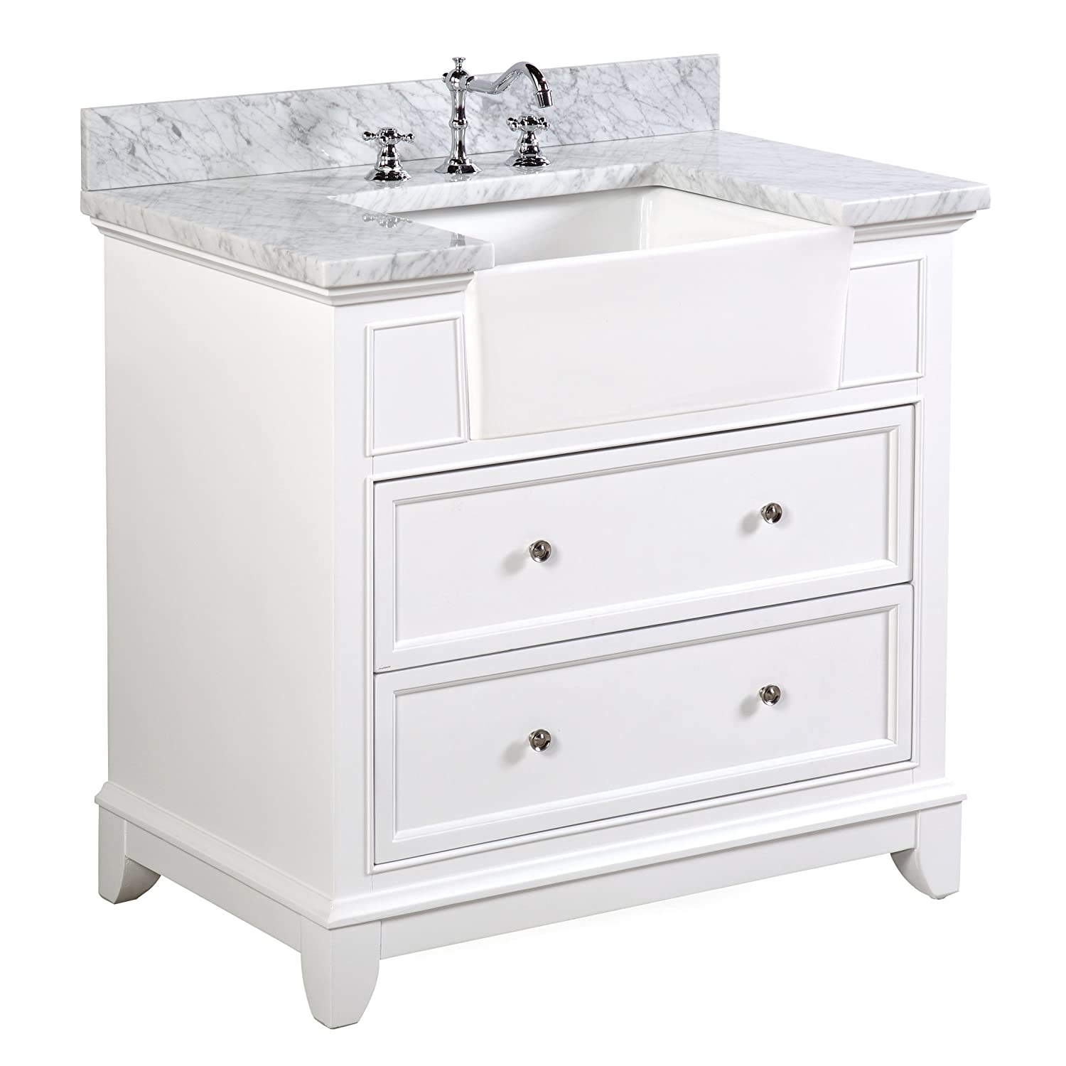 Carrara//White and White Ceramic Farmhouse Apron Sink : Includes a Carrara Marble Countertop White Cabinet with Soft Close Drawers Sophie 36-inch Bathroom Vanity